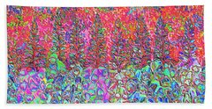 Beach Towel featuring the mixed media Colorful Garden by Elizabeth Lock