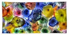 Colorful Glass Ceiling In Bellagio Lobby Beach Sheet by Walt Foegelle