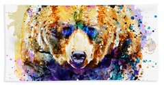 Colorful Grizzly Bear Beach Towel