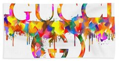 Colorful Gucci Paint Splatter Beach Towel