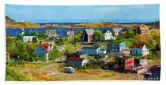 Colorful Homes In Trinity, Newfoundland - Painterly Beach Sheet by Les Palenik