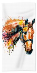 Beach Towel featuring the mixed media Colorful Horse Head by Marian Voicu