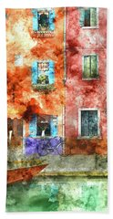 Colorful Houses In Burano Island, Venice Beach Towel