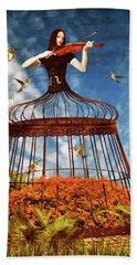 Colorful Hummingbird Song Beach Towel by Mihaela Pater