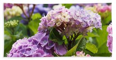 Colorful Hydrangea Blossoms Beach Sheet by Rona Black