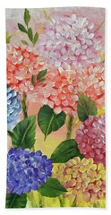 Beach Towel featuring the painting Colorful Hydrangeas by Jimmie Bartlett