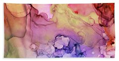 Colorful Ink Swirls With Gold Marble Beach Towel