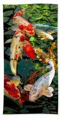 Colorful  Japanese Koi Fish Beach Sheet