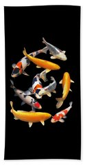 Colorful Japanese Koi Vertical Beach Towel