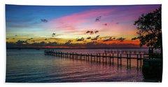Colorful Lagoon Sunrise Beach Towel by Tom Claud