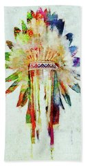 Colorful Lakota Sioux Headdress Beach Sheet by Olga Hamilton