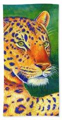 Colorful Leopard Portrait Beach Sheet