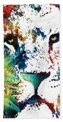 Colorful Lion Art By Sharon Cummings Beach Towel