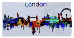 Colorful London Skyline Silhouette Beach Towel by Dan Sproul