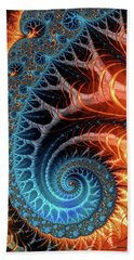 Colorful Luxe Fractal Spiral Turquoise Brown Orange Beach Sheet