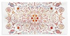 Colorful Mandala On Watercolor Paper Beach Sheet