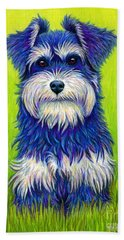Colorful Miniature Schnauzer Dog Beach Towel