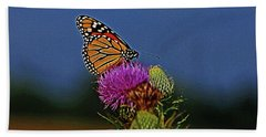 Beach Towel featuring the photograph Colorful Monarch by Sandy Keeton