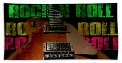 Beach Sheet featuring the photograph Colorful Music Rock N Roll Guitar Retro Distressed  by Guitar Wacky