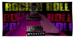 Beach Towel featuring the photograph Colorful Music Rock N Roll Guitar Retro Distressed T-shirt by Guitar Wacky