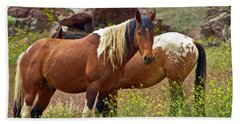 Colorful Mustang Horses Beach Sheet