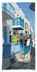 Beach Towel featuring the photograph Colorful Mykonos by Carla Parris