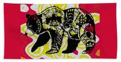 Beach Towel featuring the painting Colorful Native Black Bear by Ayasha Loya