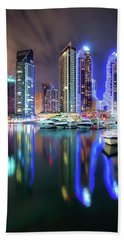 Colorful Night Dubai Marina Skyline, Dubai, United Arab Emirates Beach Sheet