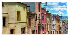 Colorful Old Houses In Tarragona Beach Sheet