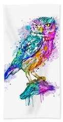 Colorful Owl Beach Sheet by Marian Voicu