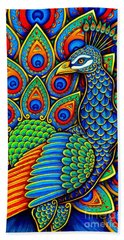 Colorful Paisley Peacock Beach Towel