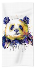 Beach Towel featuring the mixed media Colorful Panda Head by Marian Voicu