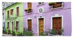 Colorful Parisian Homes Beach Towel