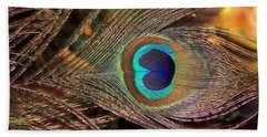 Colorful Peacock Feather Beach Sheet
