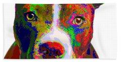 Colorful Pit Bull Terrier  Beach Towel