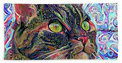 Colorful Psychedelic Cat Art Beach Towel