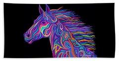 Colorful Rainbow Stallion  Beach Sheet