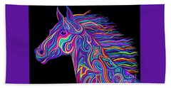 Beach Towel featuring the drawing Colorful Rainbow Stallion  by Nick Gustafson