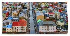 Colorful Reykjavik Iceland 7276 Beach Towel