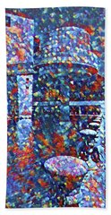 Beach Towel featuring the painting Colorful Rock And Roll Hall Of Fame Museum by Dan Sproul