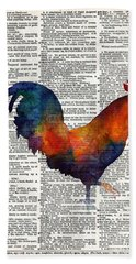 Colorful Rooster On Vintage Dictionary Beach Sheet