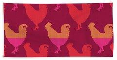 Colorful Roosters- Art By Linda Woods Beach Towel by Linda Woods