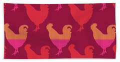Colorful Roosters- Art By Linda Woods Beach Sheet by Linda Woods