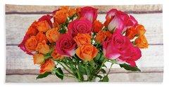 Colorful Rose Bouquet Beach Sheet