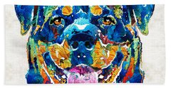 Colorful Rottie Art - Rottweiler By Sharon Cummings Beach Towel