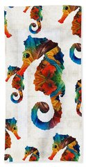 Colorful Seahorse Collage Art By Sharon Cummings Beach Sheet by Sharon Cummings