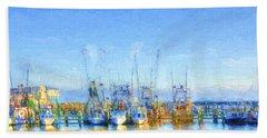 Colorful Shrimp Boat Harbor Pass Christian Ms Beach Towel