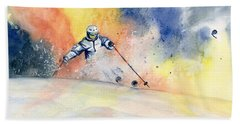 Colorful Skiing Art 2 Beach Towel
