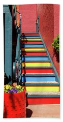 Beach Towel featuring the photograph Colorful Stairs by James Eddy