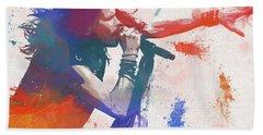 Colorful Steven Tyler Paint Splatter Beach Towel